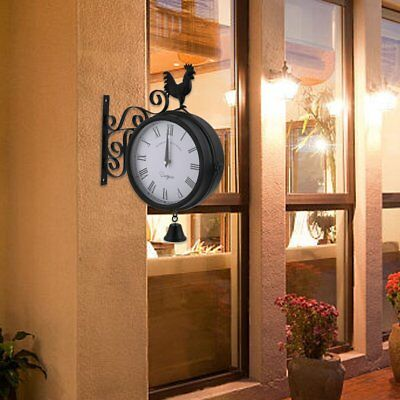 Cockerel Bell Outdoor double side Clock Garden Wall Outside Bracket Station GR