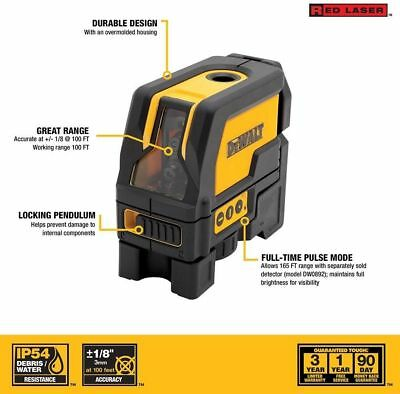 DEWALT Self Leveling Cross Line Plumb Spots Laser Level Horizontal Vertical Beam
