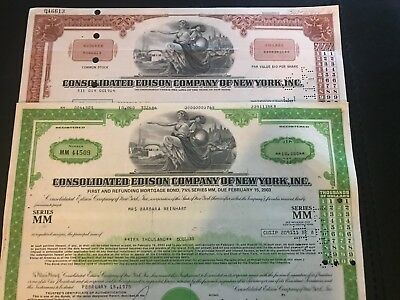 Consolidated Edison 2 Color Stock Certificate Set