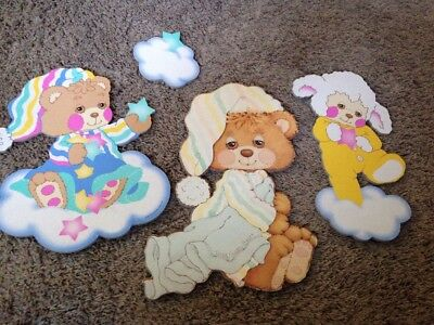 TEDDY BEDDY BEAR AND FRIENDS VINTAGE Nursery ROOM DECOR SET Hanging Pictures