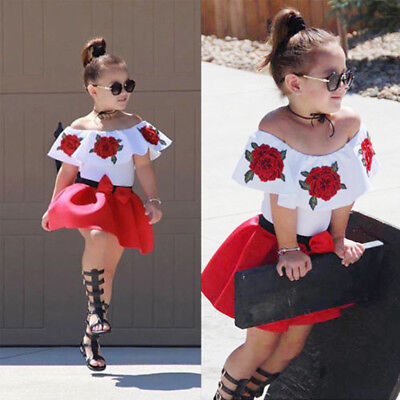 Infant Kids Baby Girls Off Shoulder Top Mini Skirt Dress Outfits Set Clothes New