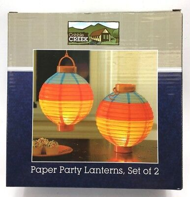 NEW Cobbie Creek PAIR 2 PAPER Asian Chinese HANGING Lantern DECOR WITH Lights