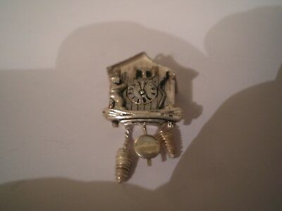 Continental Silver Cuckoo Clock Charm with Moving Parts (vintage)