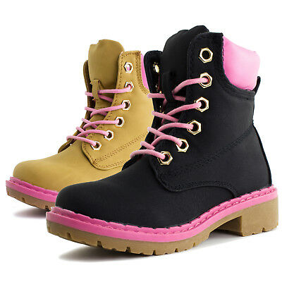 Link Youth Girls Combat Ankle Fashion Boots Shoes B9K (Youth 11 12 13 1 2 3 4)