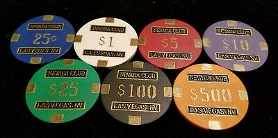 NEVADA CLUB Las Vegas NV Casino Gaming Chip Poker Card Room 7 chip set ♤♡◇♧