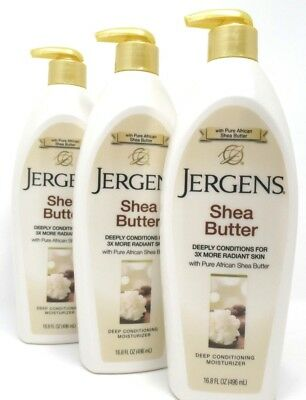 Jergens Shea Butter Moisturizer Lotion 16.8 oz Each Deep Conditioning 3 Count