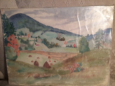 Rare Set Of Three Antique Frances Hall Herring Watercolor Paintings #1- Unframed