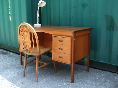 Mid-century vintage Danish teak and rosewood desk, c1960, excellent workdesk