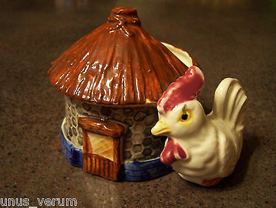 Japanese Chicken Coop Henhouse Ceramic Planter hand painted Made in Japan