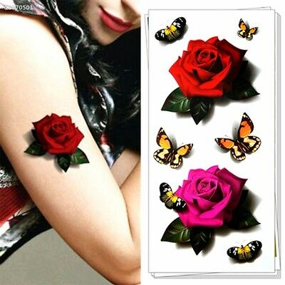 Original Colorful 3D Tattoo Body Stickers Rose Flower Removable Fake Art AC57DB8