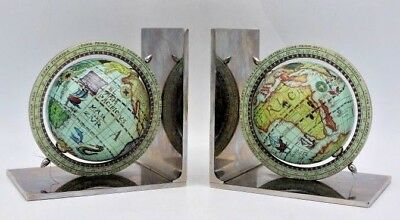 """Vintage Pair of Old World Globe Made in Italy Bookends w/ Chrome Base ~ 6"""""""