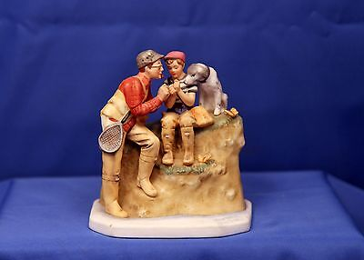 "Gorham Norman Rockwell Figurine ""Trout Dinner"" Limited Edition"