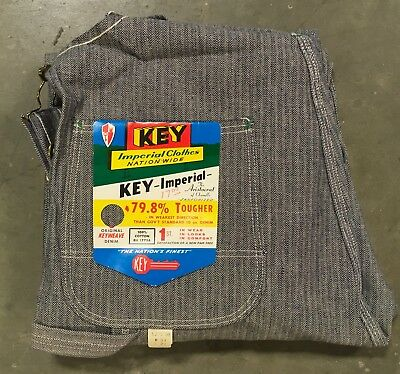 VTG NOS NWT Key Imperial Overalls 34 x 29 Hickory Striped Made In USA Bibs