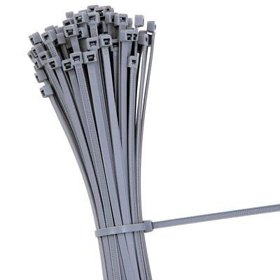 SILVER GREY CABLE TIES GREY STRONG NYLON ZIP WRAP SHORT LONG 100 140 200 300 mm