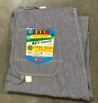 VTG NOS NWT Key Imperial Overalls 36 x 36 Hickory Striped Made In USA Bibs