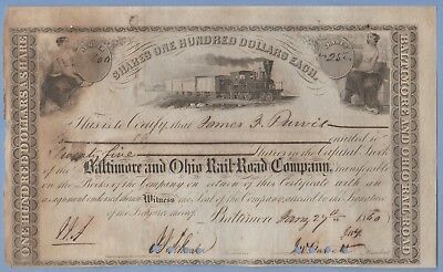 1860 Stock Certificate Baltimore & Ohio Railway #27600 James Purvis 25 shares