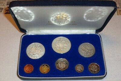 1980 BARBADOS 8 COIN PROOF MINT SET 2 SILVER COINAGE w/FRANKLIN MINT CASE & COA