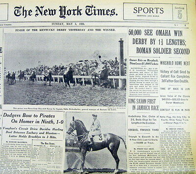 1935 NY Times newspaper Horse OMAHA wins KENTUCKY DERBY & Later the TRIPLE CROWN