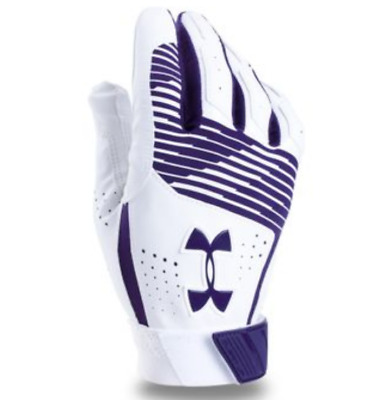 Under Armour Clean Up Batting Glove, Youth, White & Purple