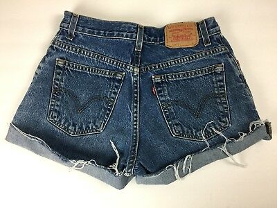 "Vintage 90s Levis 550 Faded Jean Shorts Cut Off High Waist Cuffed 28"" M cutoff 8"