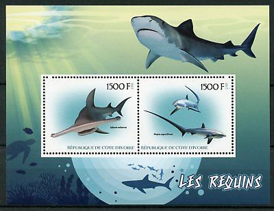 Ivory Coast 2017 MNH Sharks Hammerhead Shark 2v M/S Marine Animals Stamps