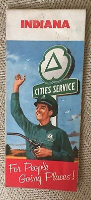 Cities Service 1958 Road Map-Indiana