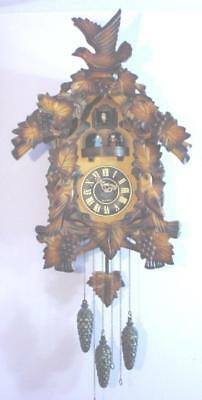 Large Hand Carved Wood Animated Musical Quartz Cuckoo Clock