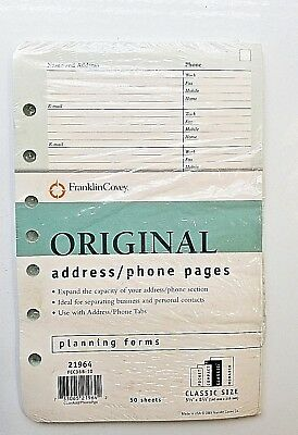 Franklin Covey Original Address Phone Pages Planning Forms 21964 Classic 7 Holes