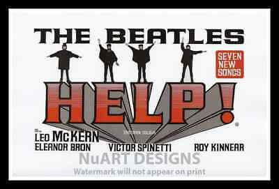 """Framed Vintage Style Rock 'n' Roll Poster """"THE BEATLES - HELP!"""";12x18"""