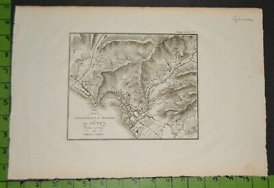 Antique Map of Genova Italy 1799 11x16 Inches