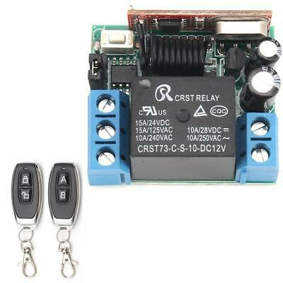 DC 12V 10A Relay 1CH Wireless RF Remote Control Switch Transmitter+ Receiver QT