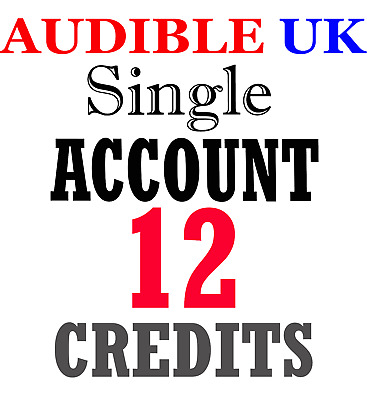 NEW Audible ACCOUNT with 12 credits prefilled for UK region