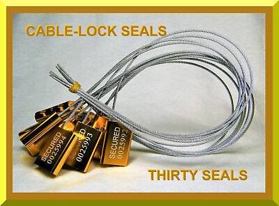Cable-Lock Security Seals, Cargo / Tanker Yellow / Gold, All-Metal, Thirty Seals