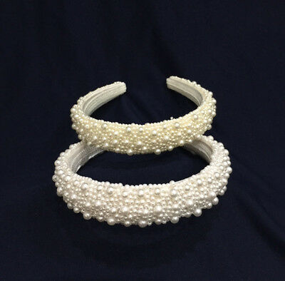 Flower Girl w/Small Pearl Headband For Wedding  & Communion. Pick Your Color !