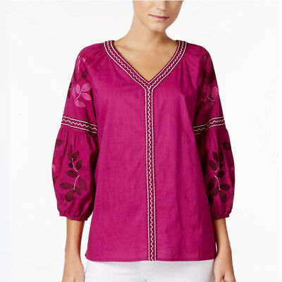 Charter Club XL Cotton Magenta Embroidered Bubble-Sleeve Top Blouse 1543