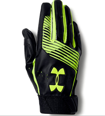 Under Armour White Clean Up Baseball Gloves, Youth, Black & Neon Yellow