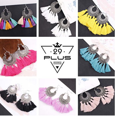 Vintage Bohemian Women's Fashion Long Tassel Fringe Boho Dangle Earrings PartyAU