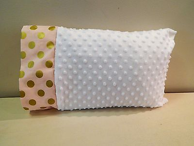 NWT Pink Metallic Gold Dot White Minky Dot Toddler Pillowcase 12x16 Girl Bed Nap