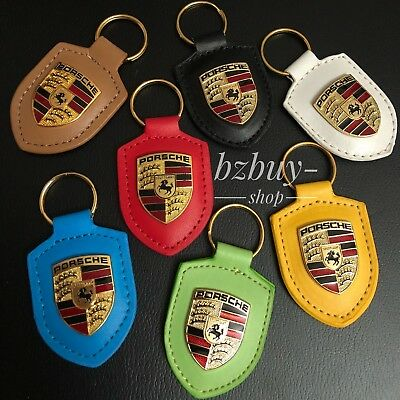 Porsche  Leather Metal Colored Crest Key chain Key Ring Fob Chain Leath WAP05009