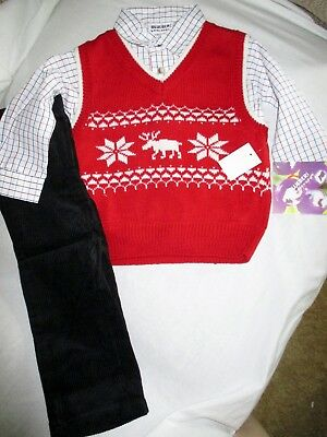 ece29c94b NWT Toddler Boys size 2T Blueberi Boulevard Moose Sweater Vest Shirt Pants