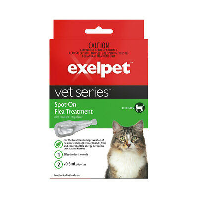 EXELPET Vet Series Spot-On Flea Treatment For Cats - 2 X 0.5mL Pipettes