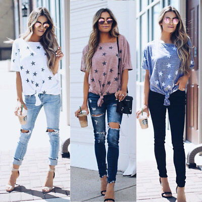 Fashion Summer Women Casual Cotton Off Shoulder Lady T Shirts Loose Tops Blouse