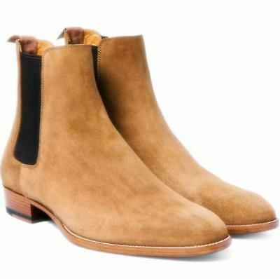1db3621e454a84 Men Suede Casual dress oxford High Top Pointy Toe Pull On Shoes Chelsea  Boots