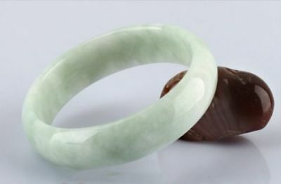 Chinese Carved Beautiful Light Green Jadeite Jade Bangle Bracelet 58mm-60mm