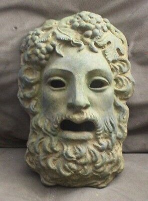 Green aged Roman Greek God Face Theater Mask Decor Zeus Dionysus Bacchus Apollo