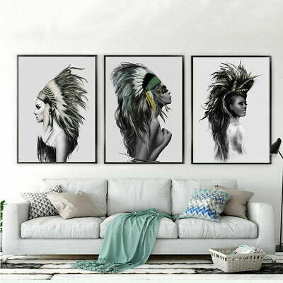 Beauty Indian Girl Woman Feather Print Oil Painting Home Art Decors Frameless