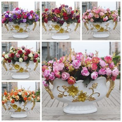 21 Heads Artificial Fake Silk Rose Flower Bouquet Home Bridal Party Decor New