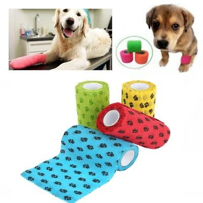 1x Pet Dogs Cat Breathable Elastic Paw Print Bandage Puppy Self Adherent Bandage