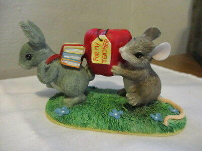 """CHARMING TAILS Handcrafted Mouse & Rabbit with Books & Lg Apple """"For My Teacher"""""""