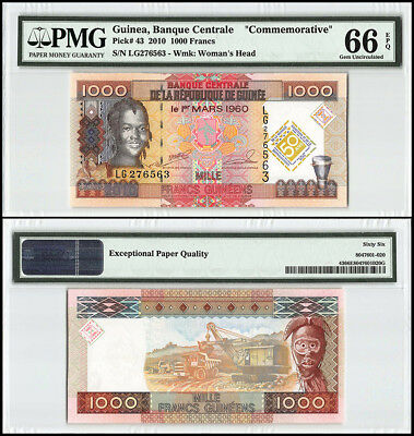 Guinea 1000 (1000) Francs, 2010, P-43, Woman, Trucks, Steam Shovel, Mask, PMG 66